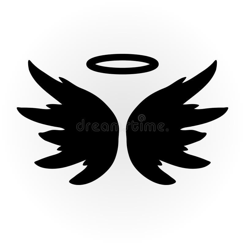 Abstrakt ängelbild Vingarna och glorien Isolerat anmärka symbol royaltyfri illustrationer