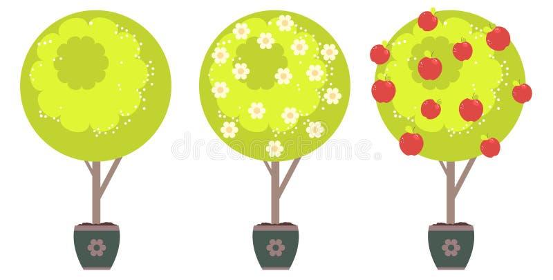 abstrakt äppletree vektor illustrationer