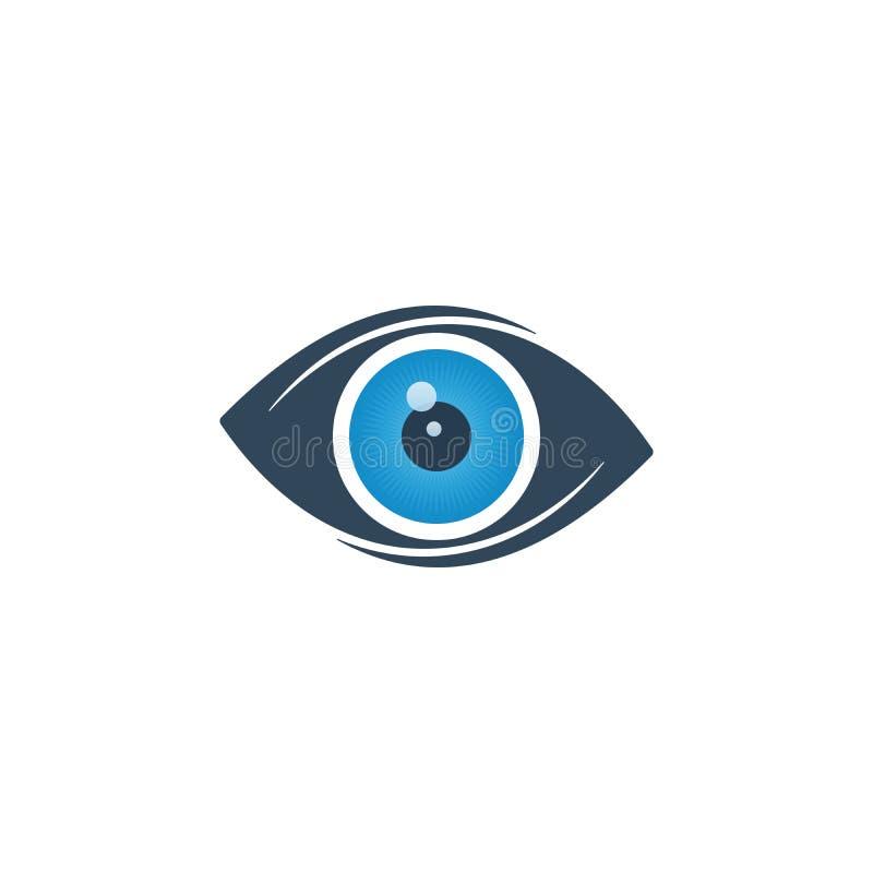 Abstrakt ögonsymbol med den blåa ögongloben royaltyfri illustrationer