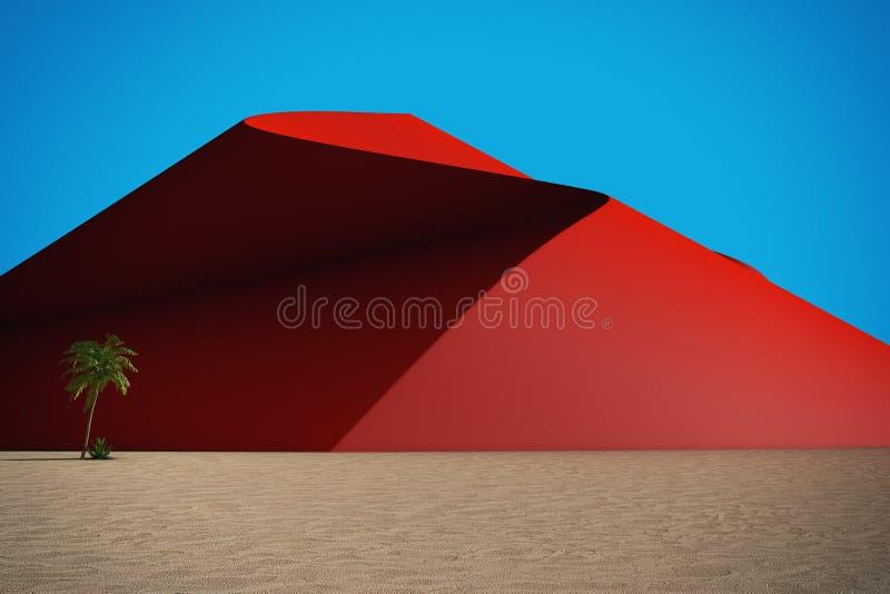 Abstrakt öken med röda dyn och blå himmel framförande 3d royaltyfri illustrationer