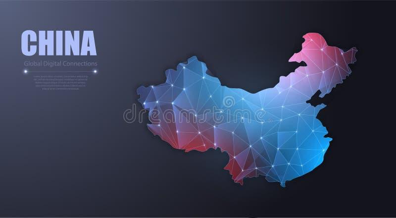 Abstrakt översikt av Kina Ingrepp för trådram 3D royaltyfri illustrationer