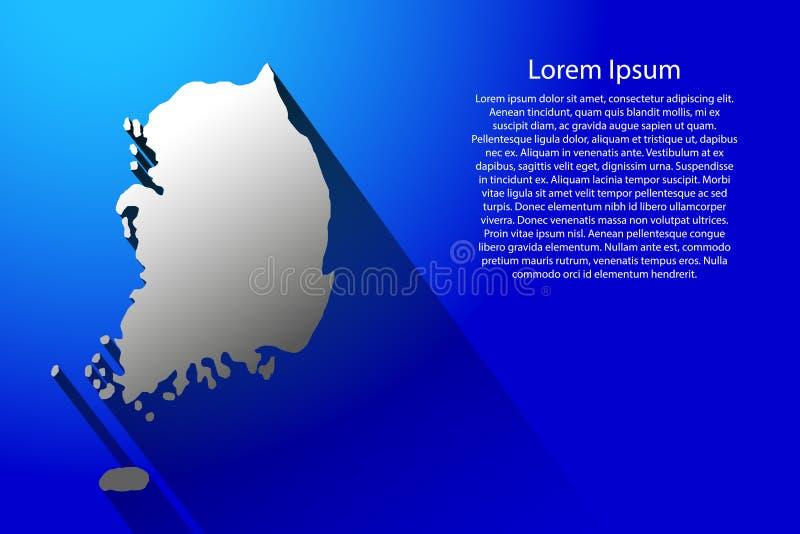 Abstrakt översikt av Sydkorea med lång skugga på blå bakgrundsvektorillustration stock illustrationer