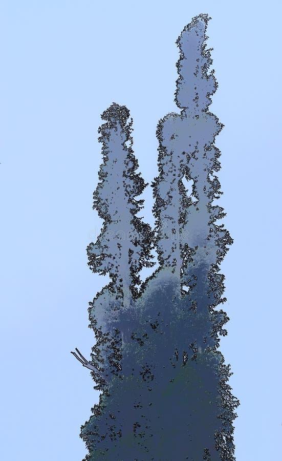 Abstrakt översikt för högväxta träd mot klar bakgrund för blå himmel - Minimalistic illustration stock illustrationer