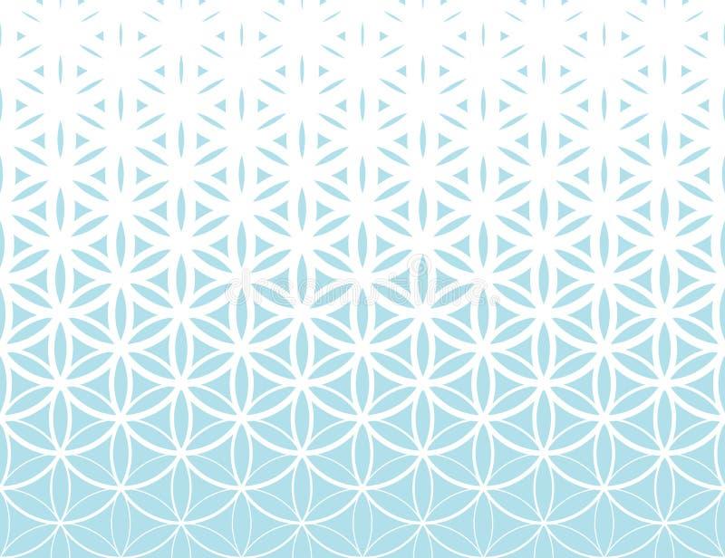 Abstrakt świętej geometrii błękitny gradientowy kwiat życia halftone wzór royalty ilustracja