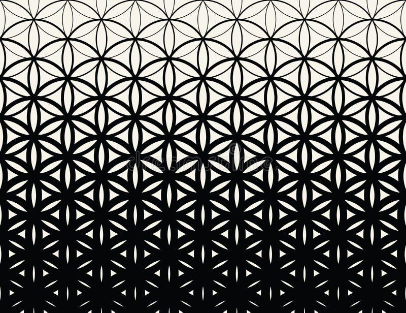 Abstrakt świętej geometrii czarny i biały gradientowy kwiat życia halftone wzór ilustracja wektor