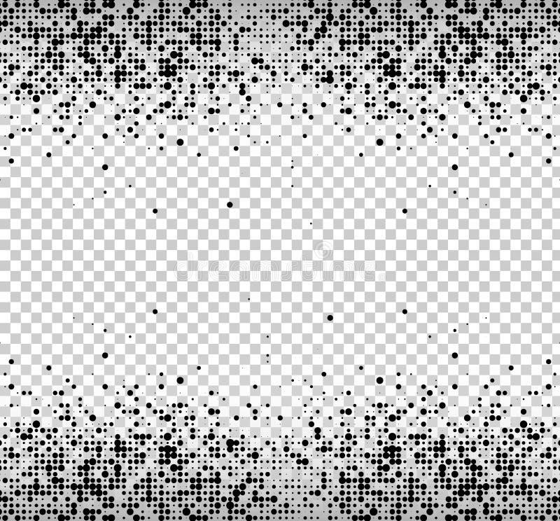 Abstrakt affärsbakgrund av svarta prickar rastrerad botten och överkant på en genomskinlig bakgrund royaltyfri illustrationer