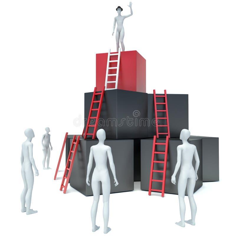 Abstrakt affärsframsteg, utveckling, framgång, ledarskap och stock illustrationer