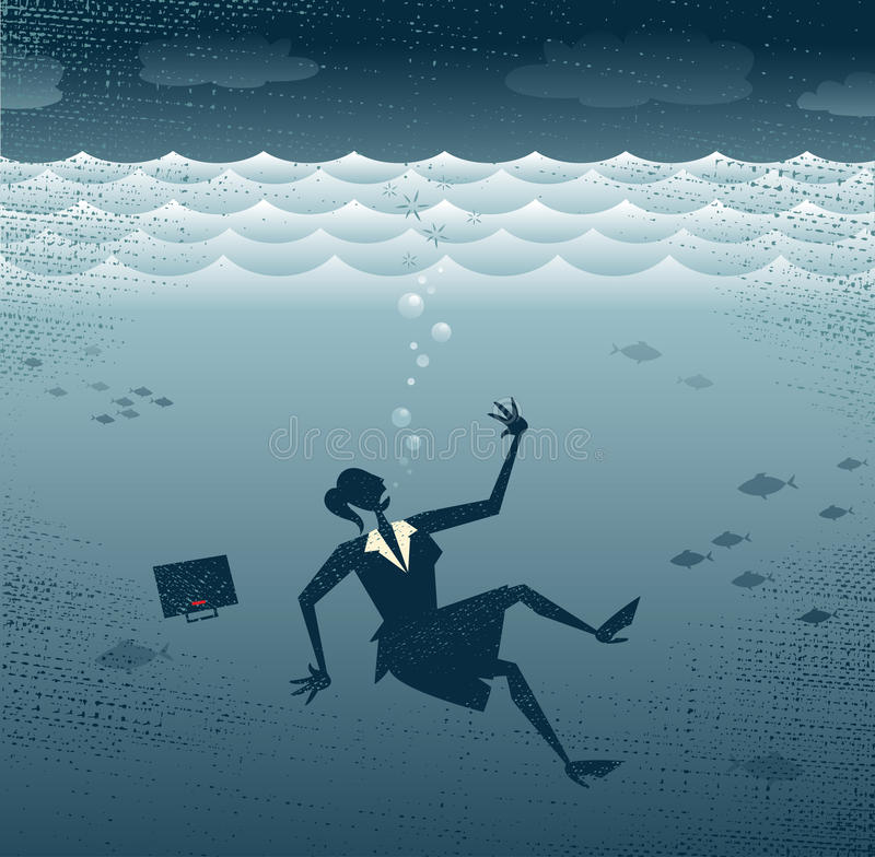 Abstrakt affärskvinna Drowning. stock illustrationer