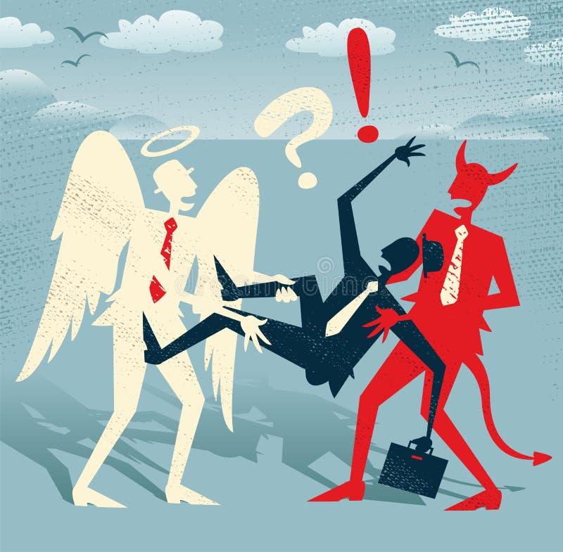 Abstrakt affärsman i ond dragkamp för goda kontra royaltyfri illustrationer