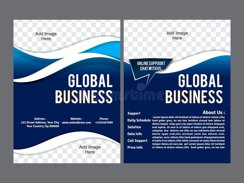 Abstrakt affärsreklambladmall i blå färg royaltyfri illustrationer