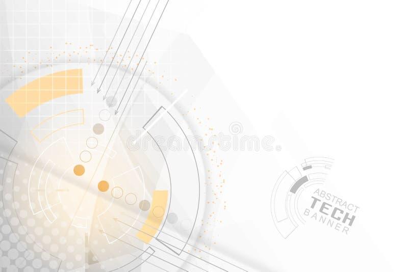 Abstrakt affärsteknologibakgrund med strömkretsbrädet, pilar och ett orange glöd vektor illustrationer