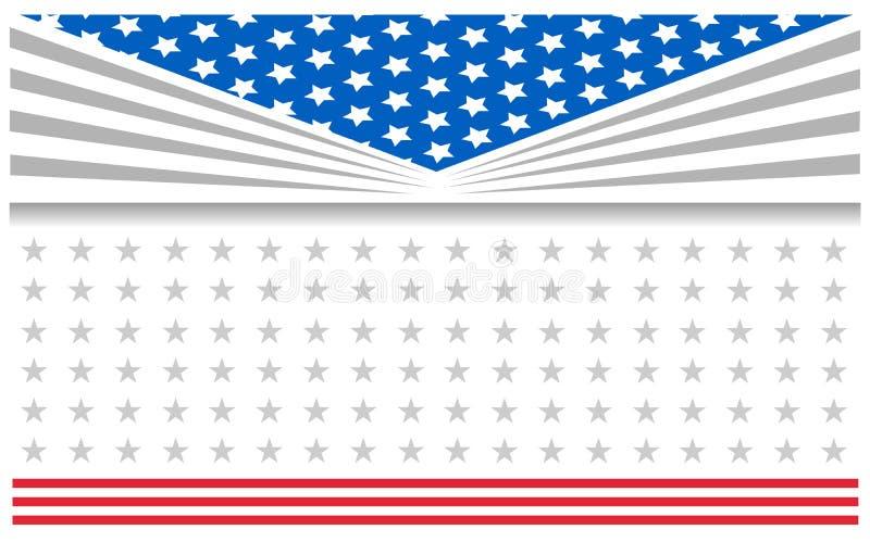 Abstrakt affisch för baner för kort för USA flaggaferie stock illustrationer