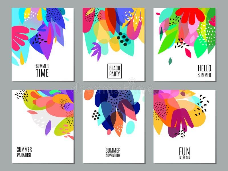 Abstrakt affisch för samling för sommarannonseringbaner vektor illustrationer