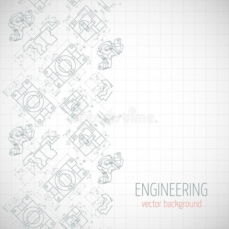 Abstrakt affisch, räkning, baner, bakgrund med den tekniska teckningen av delar Anteckningsbokark vektor stock illustrationer