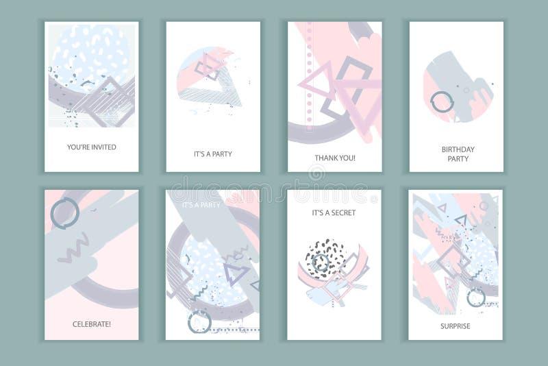 Abstrakt affischuppsättning för universal royaltyfri illustrationer