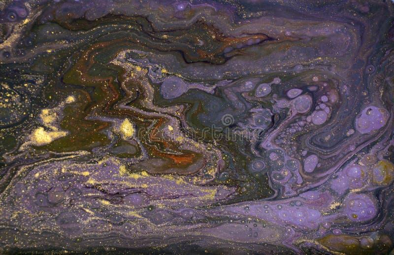 Abstrakt akrylbakgrund för marmor Violett marmorera konstverktextur Marmorerad krusningsmodell arkivbild