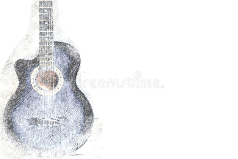 Abstrakt akustisk gitarr på vattenfärgmålning arkivfoton