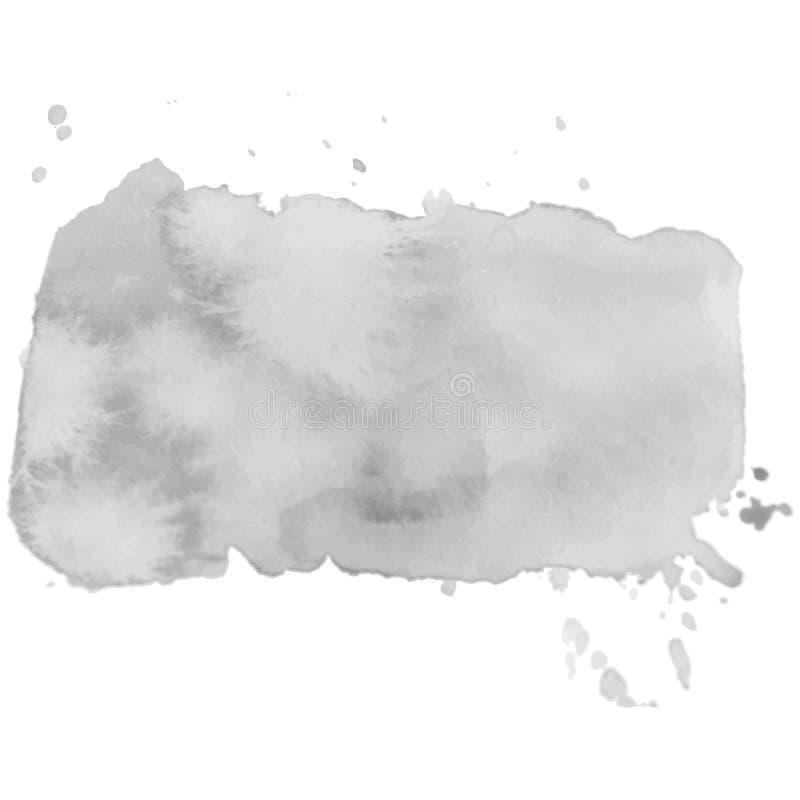 Abstrakt akwareli odosobniony szary wektorowy sztandar Grunge element dla papierowego projekta ilustracji