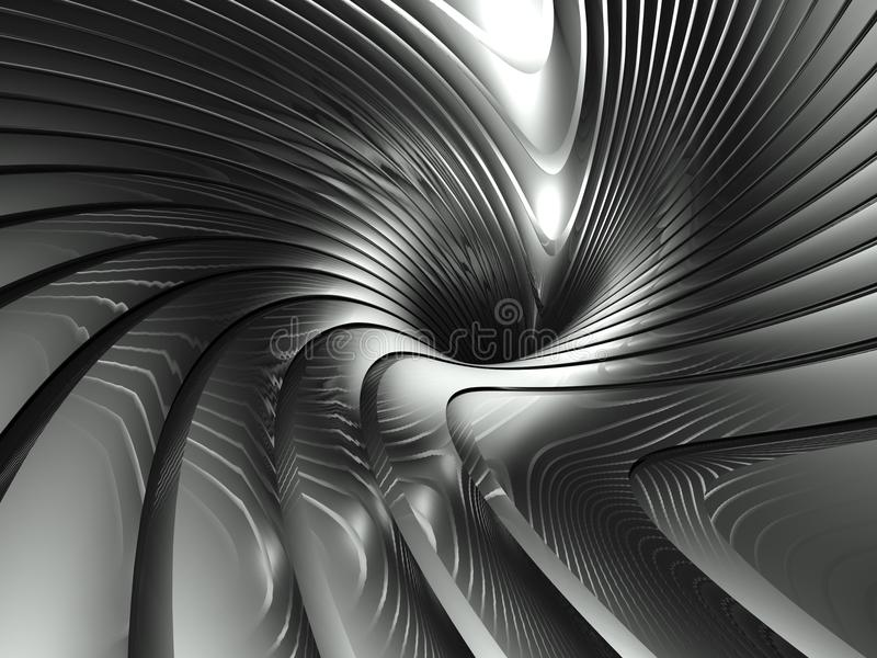abstrakt aluminium wavy silverswirl för bakgrund 3d stock illustrationer
