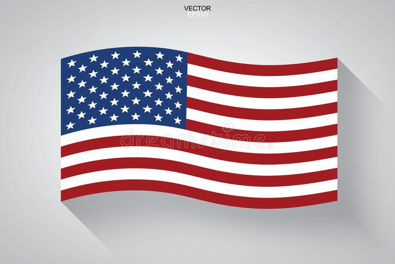 Abstrakt amerikanska flaggan med lång skuggaeffekt på vit bakgrund stock illustrationer
