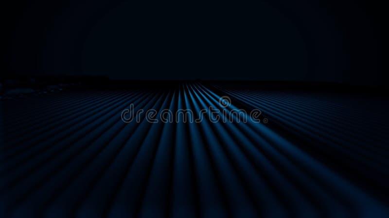 Abstrakt animering av färg som pulserar linjer på svart bakgrund Färgrikt fält av linjer som pulserar som konstgjorda vågor stock illustrationer