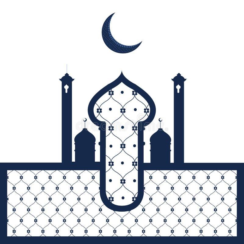 Abstrakt arabisk tempel ramadan kareem stock illustrationer
