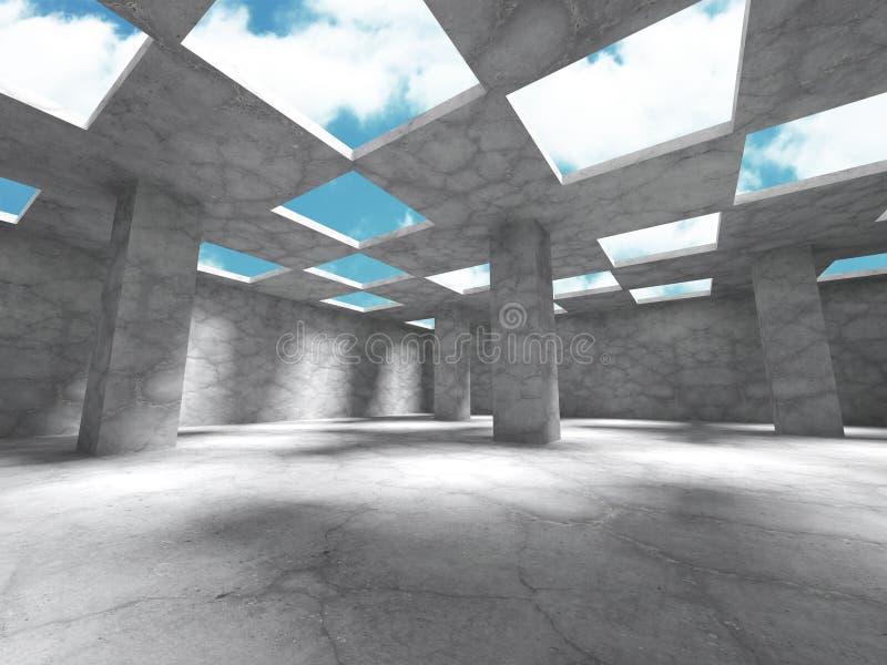Abstrakt architektury Betonowa budowa na nieba tle ilustracja wektor