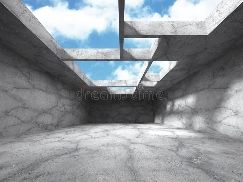 Abstrakt architektury Betonowa budowa na nieba tle ilustracji