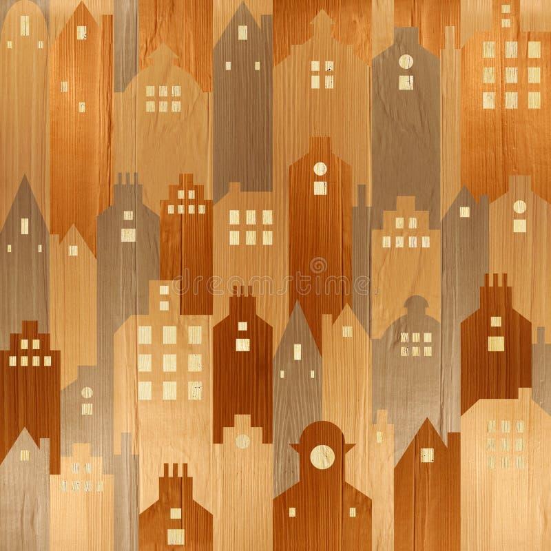Abstrakt arkitektonisk byggnad - sömlös bakgrund - wood tex vektor illustrationer