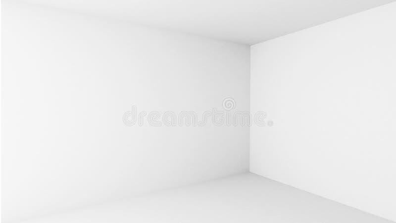 Abstrakt arkitektur. Tom interior för vit lokal royaltyfri illustrationer