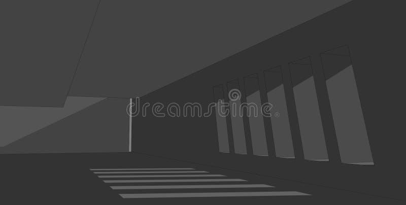 Abstrakt arkitekturbakgrund, t?mmer den konkreta inre illustration 3d royaltyfri illustrationer