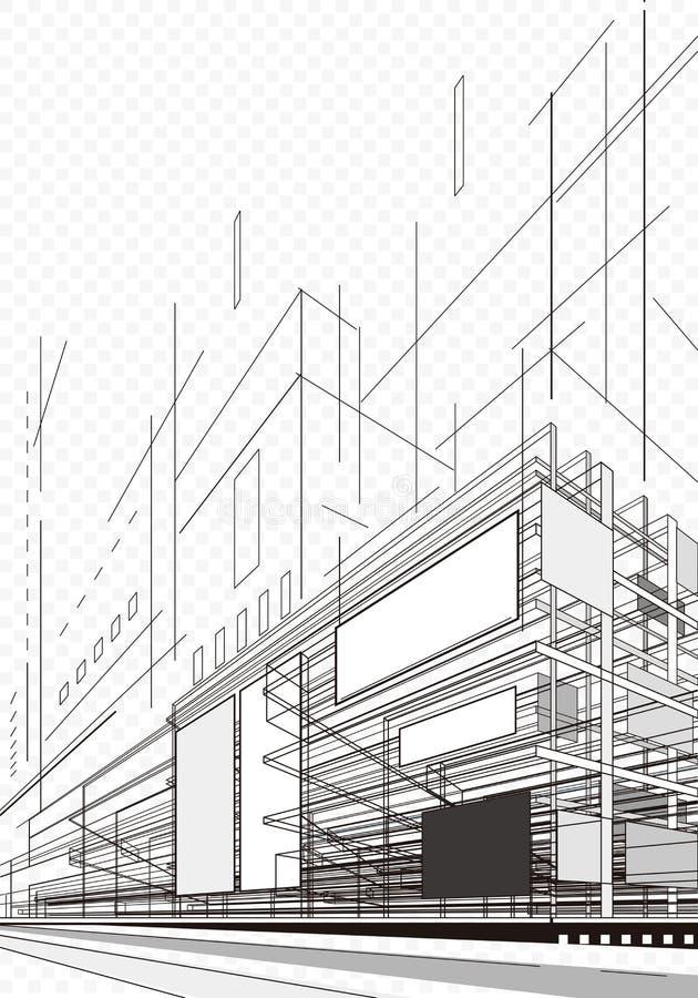 Abstrakt arkitekturplan vektor illustrationer