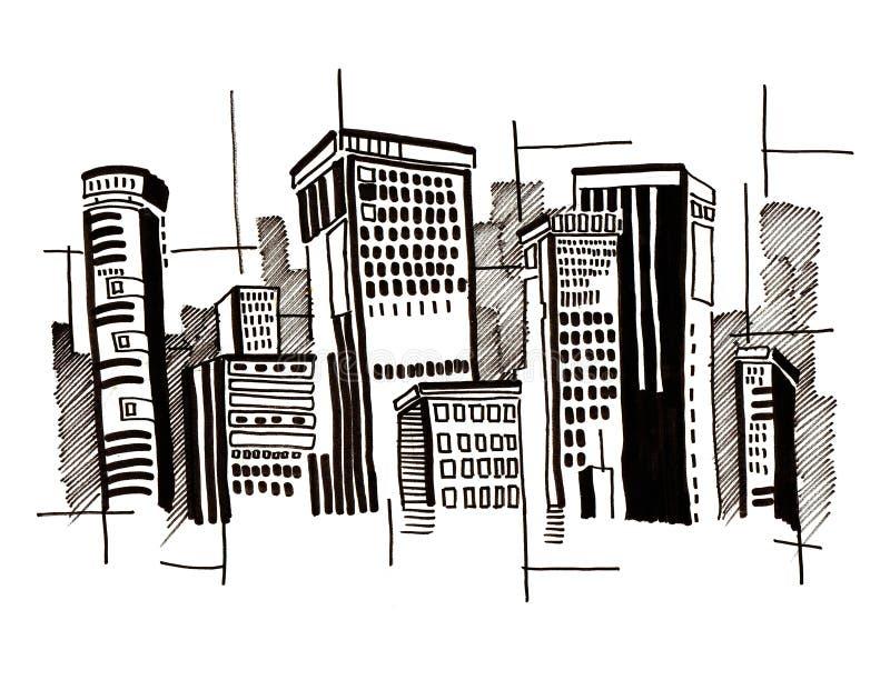 abstrakt arkitekturstadsteckning stock illustrationer