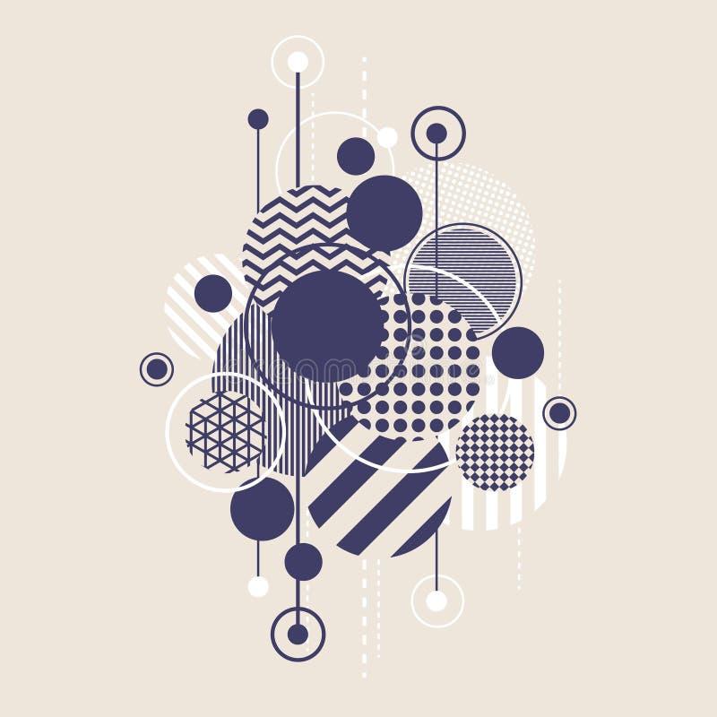 Abstrakt Art Background With Modern Geometric runda royaltyfri illustrationer