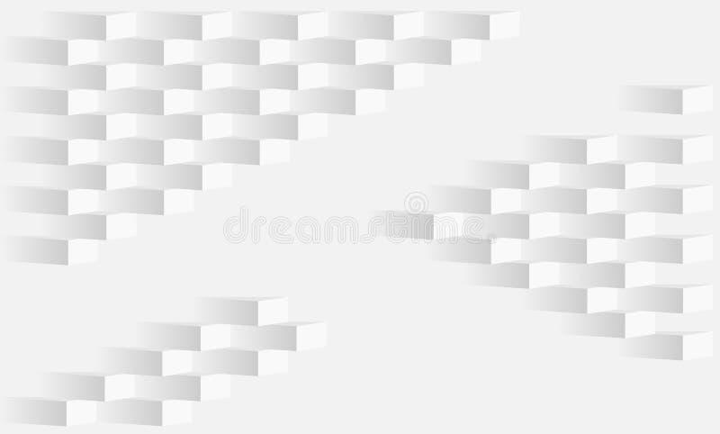Abstrakt assymetrisk textur för vit tegelsten - bakgrund stock illustrationer