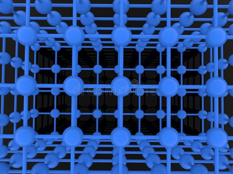 Abstrakt atomraster på svart bakgrund stock illustrationer