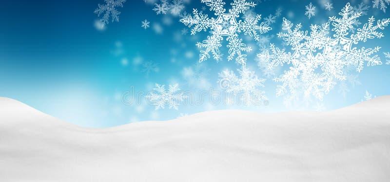 Abstrakt Azure Blue Background Panorama Winter landskap med fa vektor illustrationer