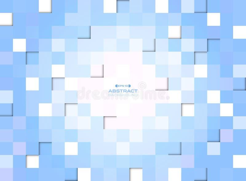 Abstrakt błękitny gradientowy piksla kwadrata wzoru tło royalty ilustracja