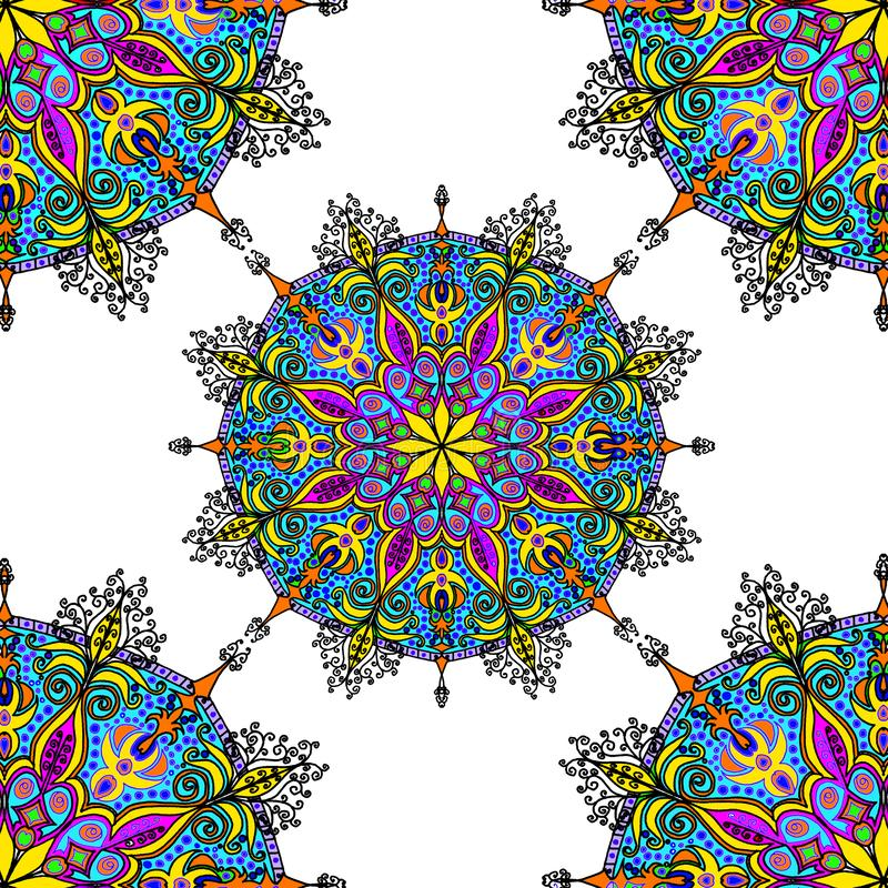 Abstrakt bakgrund av blommamodellen, kalejdoskopisk geometrisk prydnad konst Härlig cirkel, mandalaillustration stock illustrationer