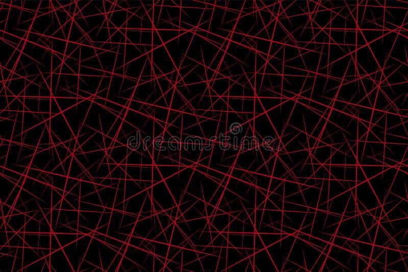 Abstrakt bakgrund av den svarta moderna sömlösa modellen för röda geometriska former royaltyfri illustrationer