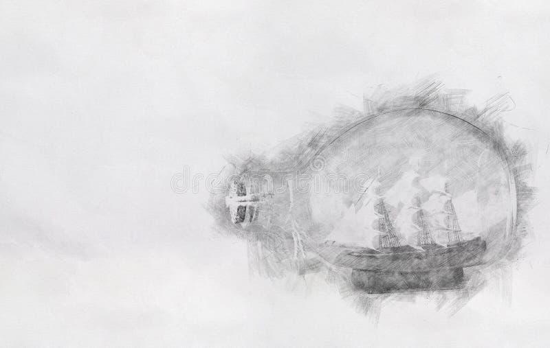 Abstrakt bakgrund av fartyget i flaskan Blyertspennan skissar målningstil svart white royaltyfri fotografi