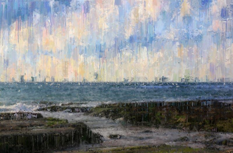 abstrakt bakgrund av fotoet för stil för olje- målning för havslynne vektor illustrationer