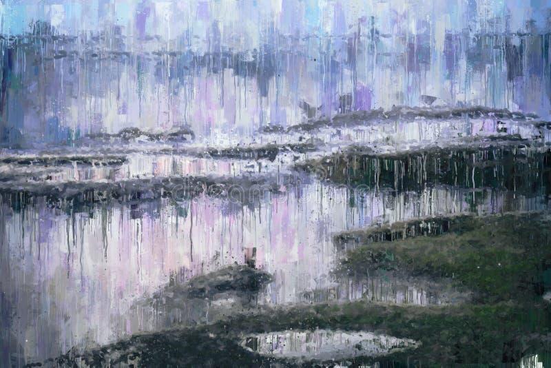 abstrakt bakgrund av fotoet för stil för olje- målning för havslynne stock illustrationer