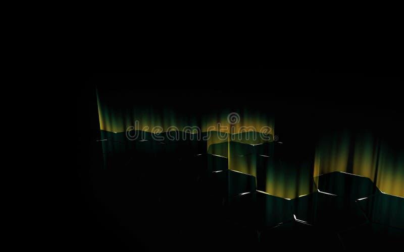 Abstrakt bakgrund av futuristisk yttersida med sexhörningar royaltyfria foton
