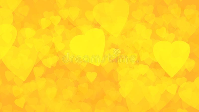 Abstrakt bakgrund av guld- bakgrund för guld- gula hjärtor royaltyfri illustrationer