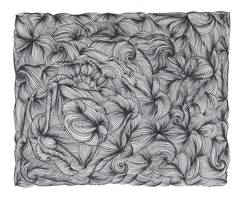 Abstrakt bakgrund av hand drog klotter Lockiga vågor och linjer vektor illustrationer