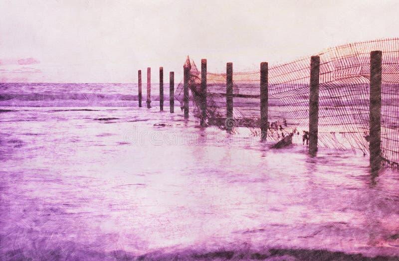 Abstrakt bakgrund av havslandskapet Blyertspennan skissar målningstil Solnedgången färgar stock illustrationer