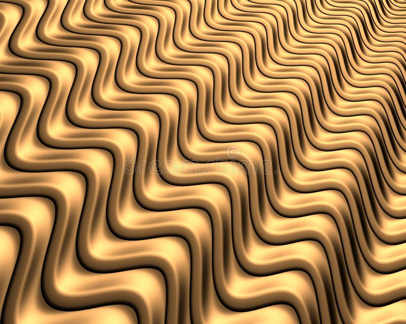Abstrakt bakgrund av korrugerad guld- metall - Illustation 3d tolkning fotografering för bildbyråer