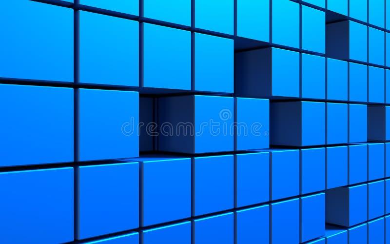 Abstrakt bakgrund av kuber i blåttfärg illustration 3d vektor illustrationer