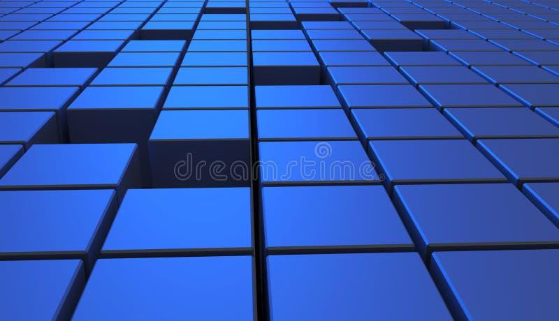 Abstrakt bakgrund av kuber i blåttfärg illustration 3d stock illustrationer